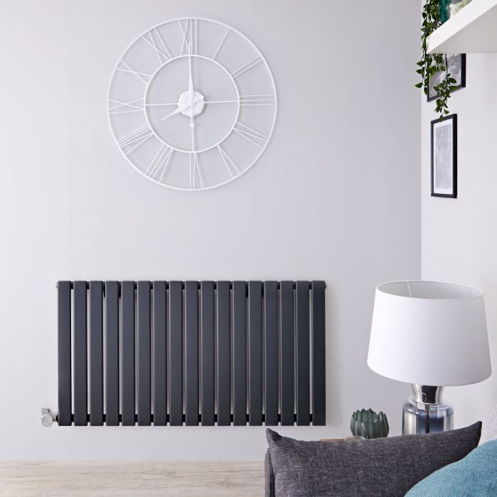 Radiateur design électrique horizontal - Anthracite - 63,5 cm x 119 cm x 4,6 cm - Delta