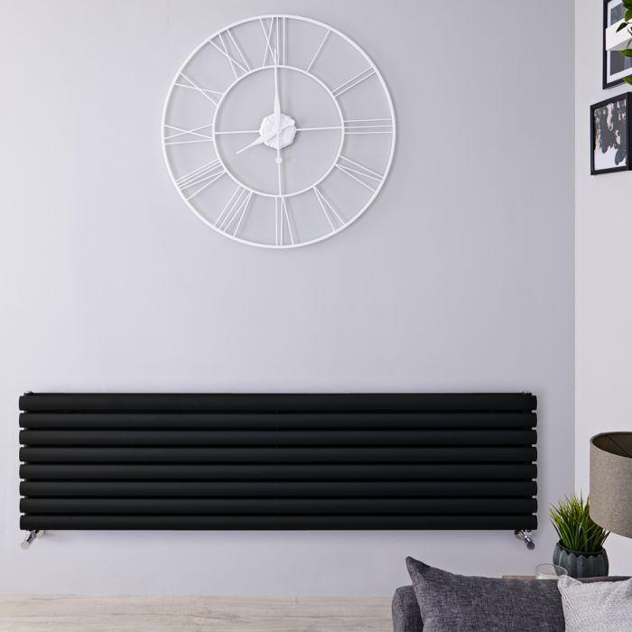 Radiateur design horizontal - Noir - 47,2 cm x 160 cm x 7,8 cm – Panneaux Double - Vitality