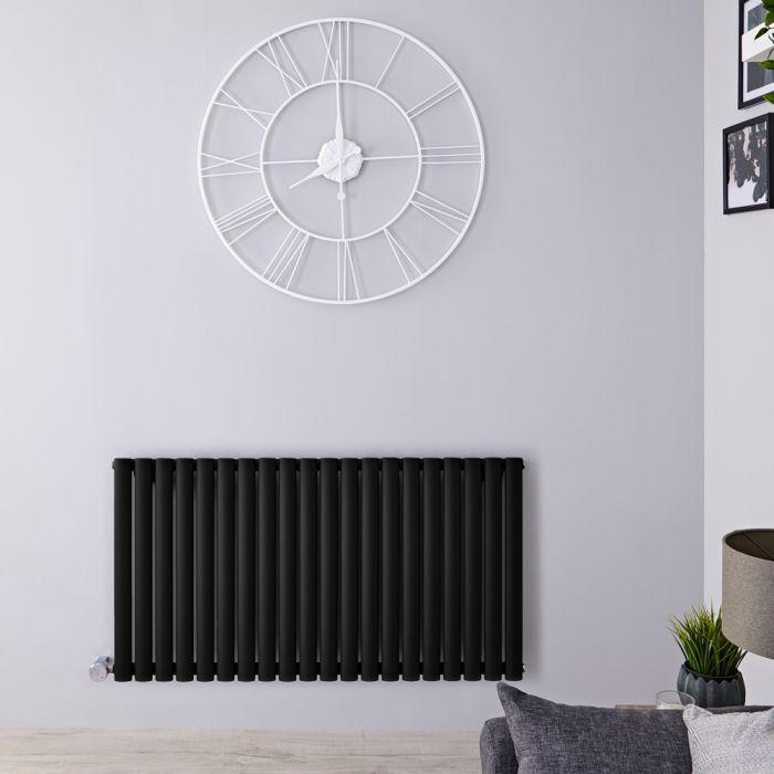 Radiateur design électrique horizontal - Noir - 63,5 cm x 118 cm x 5,6 cm - Vitality