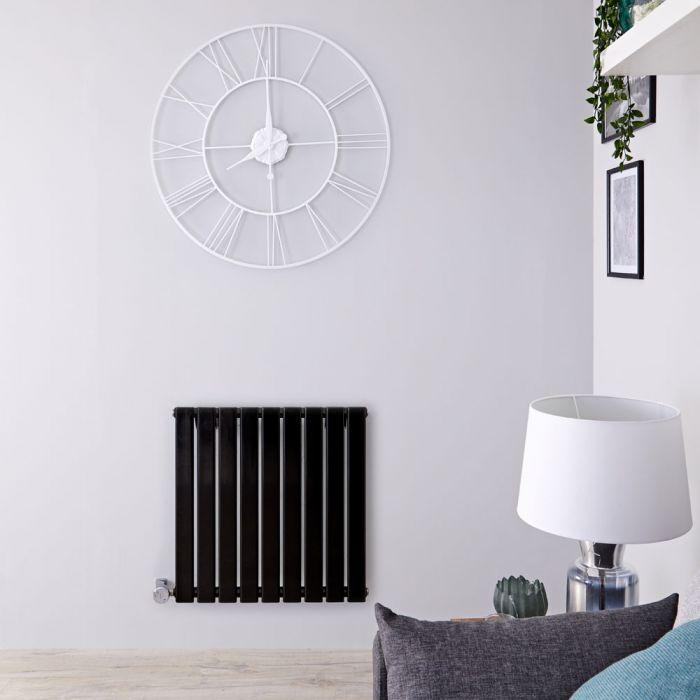 Radiateur design électrique horizontal – Noir - 63,5 cm x 63 cm x 4,6 cm - Delta
