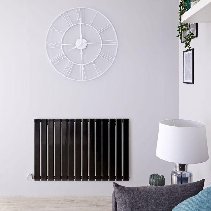 Radiateur design électrique horizontal - Noir - 63,5 cm x 98 cm x 4,6 cm - Delta