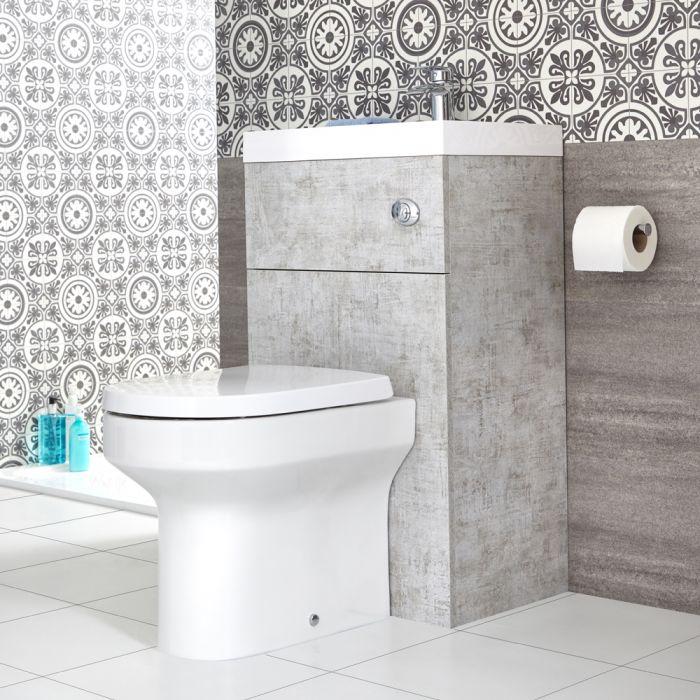 WC avec lave-mains – 50 cm x 89 cm – Gris béton – Cluo