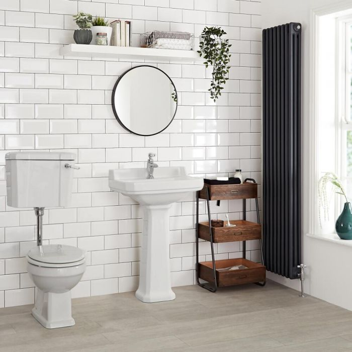 WC Rétro - Blanc - Chasse demie-haute
