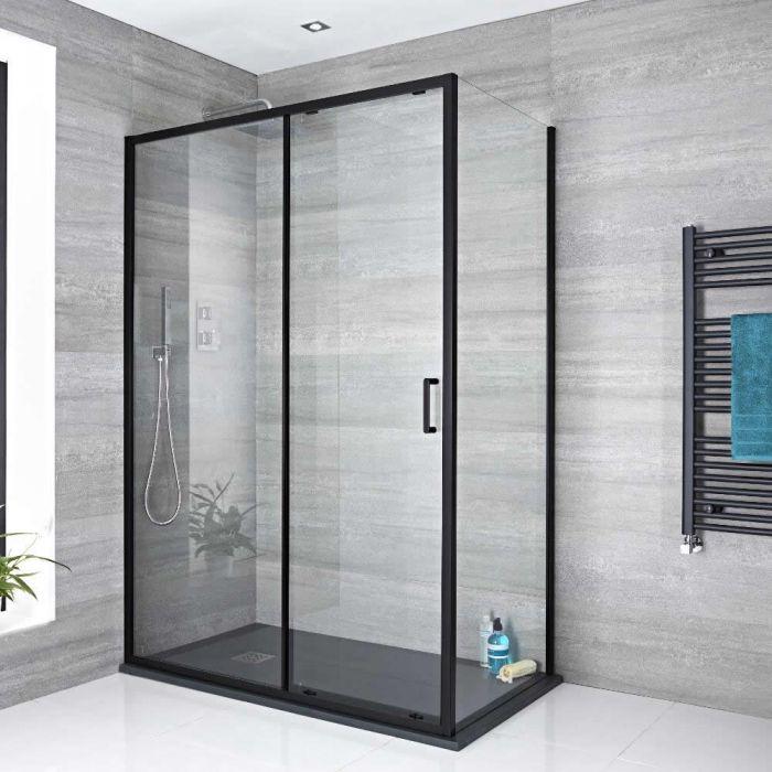 Porte de douche coulissante – Noir – Tailles multiples - Nox