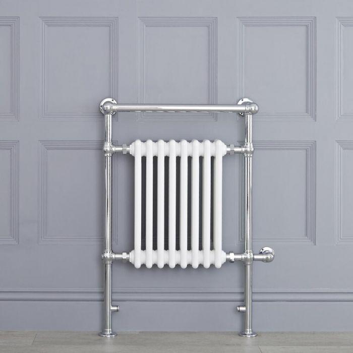 Sèche-serviettes électrique rétro - Blanc & Chrome - 93cm x 62cm x 23cm - Elizabeth