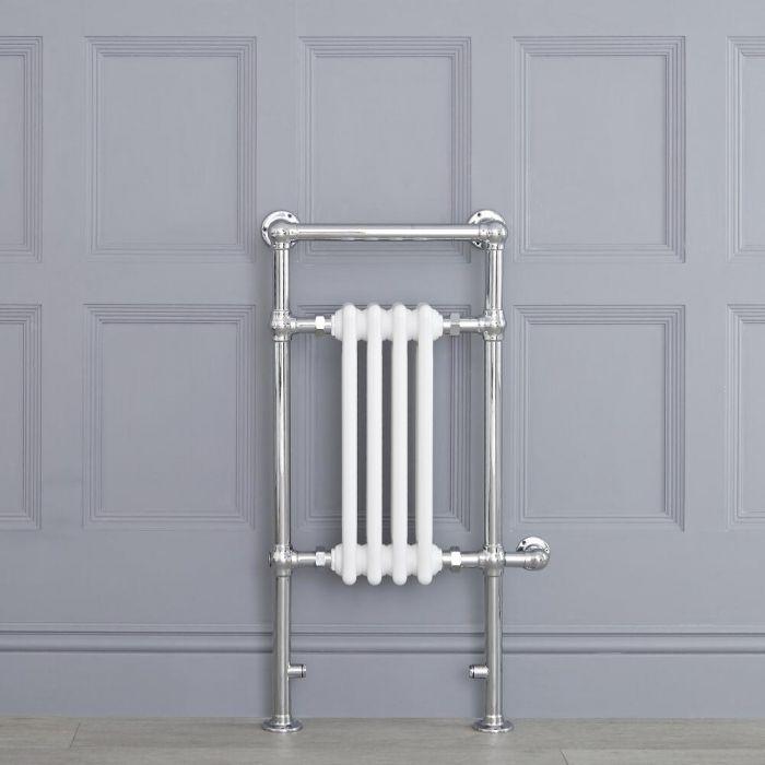 Sèche-serviettes électrique rétro - Blanc & Chrome - 93cm x 45cm x 15,5cm - Elizabeth