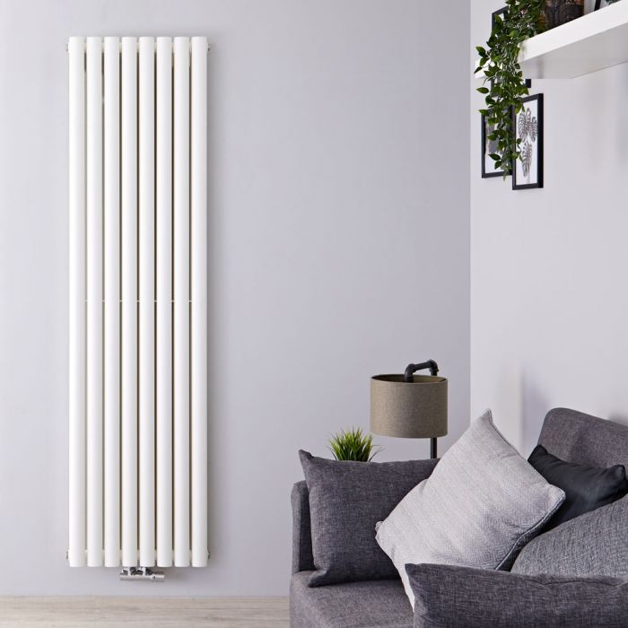 Radiateur Design Vertical Raccordement Central Blanc Vitality Caldae 178cm x 47,2cm x 7,8cm 1735 Watts