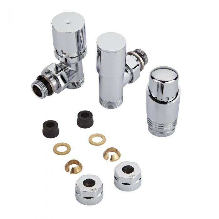Robinet de radiateur thermostatique - Chromé – Raccordement central - Adaptateurs cuivre 14mm
