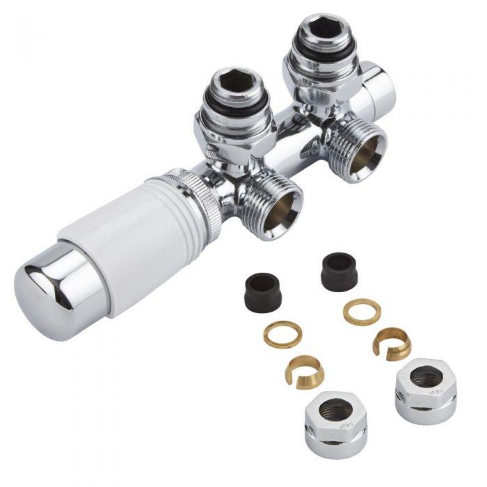 Robinet de radiateur thermostatique d'angle - Blanc & Chrome – Raccordement central - Adaptateurs cuivre 15mm