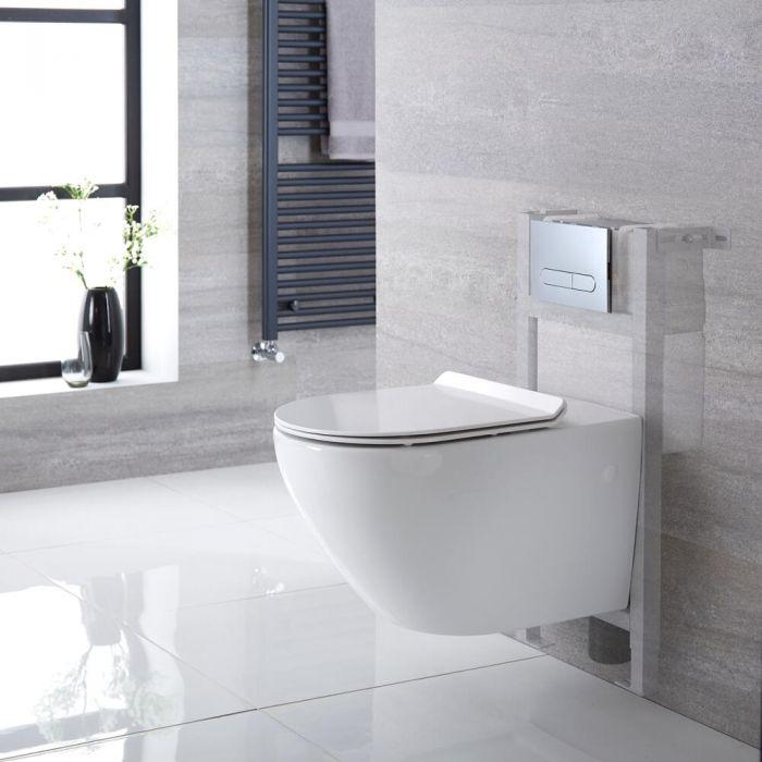 Pack WC Suspendu Sans Bride Otterton - Bâti-support 82x40cm & Plaque de Déclenchement