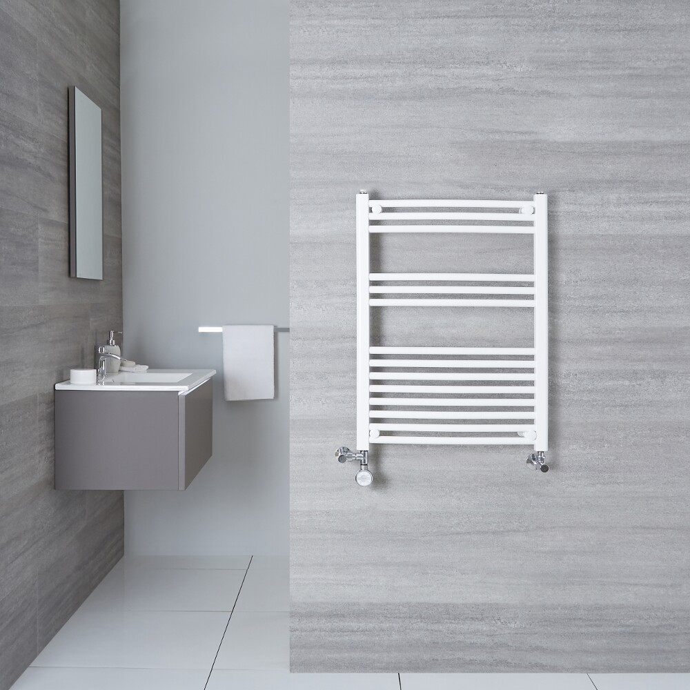 Sèche-Serviettes Mixte Incurvé Blanc Etna 80cm x 50cm x 4,5cm 426 Watts