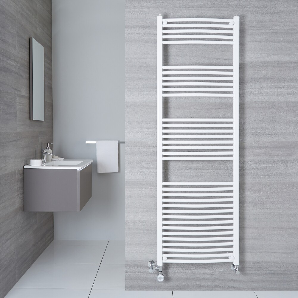 Hudson Reed Sèche-Serviettes Mixte Incurvé Blanc Etna 180cm x 50cm x 4,5cm 1000 Watts