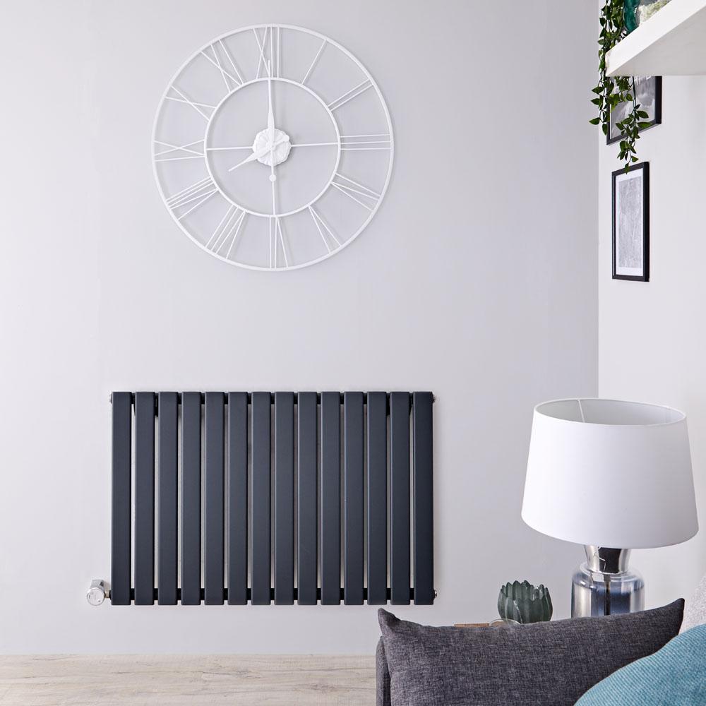 Radiateur design électrique horizontal - Anthracite - 63,5 cm x 98 cm x 4, 6cm - Delta