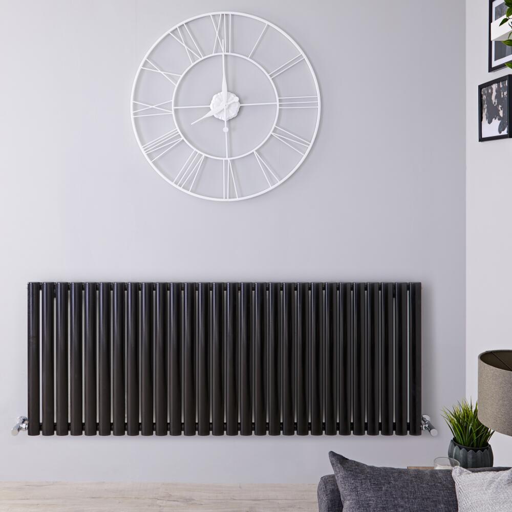 Radiateur Design Horizontal Noir Vitality 63,5cm x 164,7cm x 5,6cm 1671 Watts