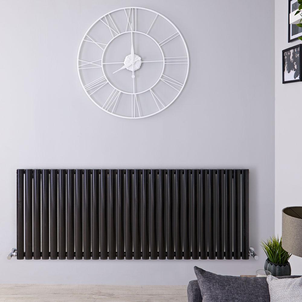 Radiateur Design Horizontal Noir Vitality 63,5cm x 164,7cm x 7,8cm 2609 Watts
