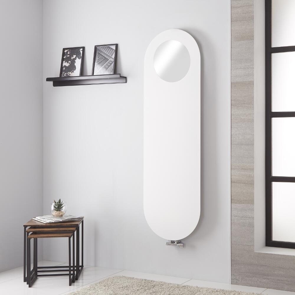 Atrani - Radiateur Vertical Avec Miroir - Blanc Minéral - 159.5cm x 49cm - 729 watts