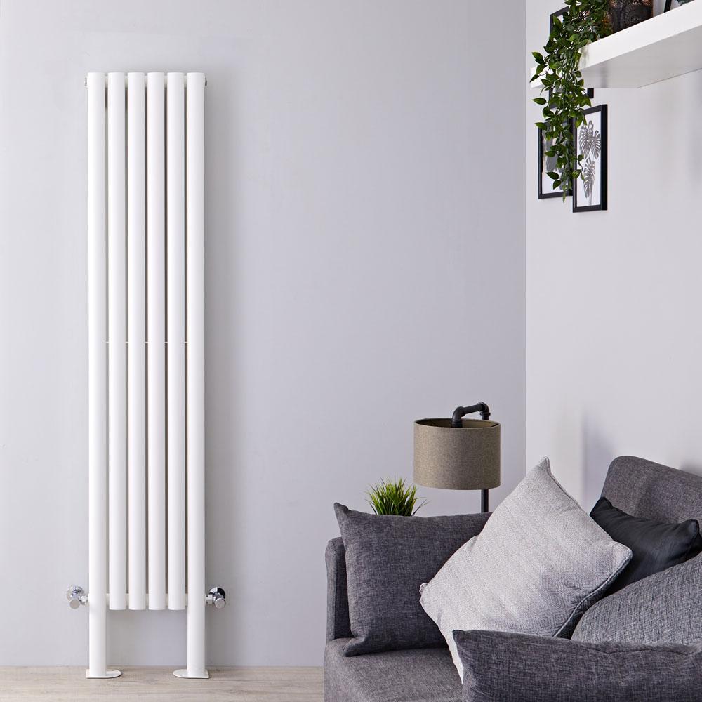 Radiateur Design Vertical avec Pieds de Support Blanc Vitality Plus 180cm x 35,4cm x 7,8cm 1228 Watts