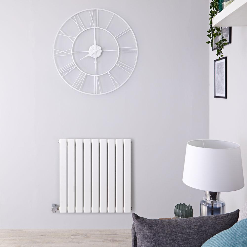 Radiateur Design Électrique Horizontal Blanc Delta 63,5cm x 63cm x 4,6cm