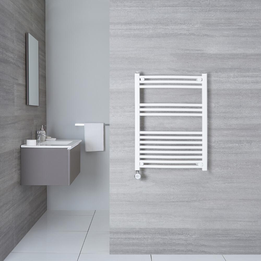 Sèche-Serviettes Électrique Incurvé Blanc Etna 80cm x 50cm x 4,5cm