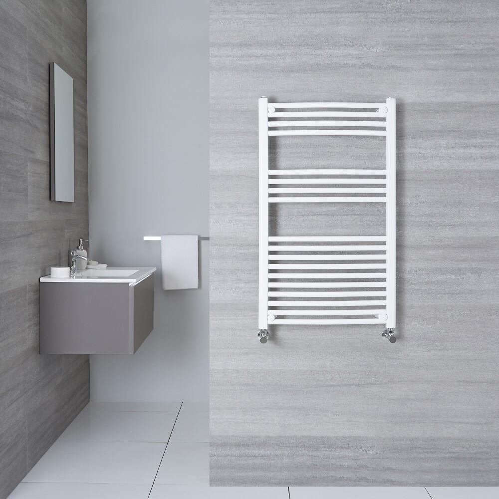 Sèche-Serviettes Incurvé Blanc Etna 100cm x 50cm x 4,5cm 533 Watts