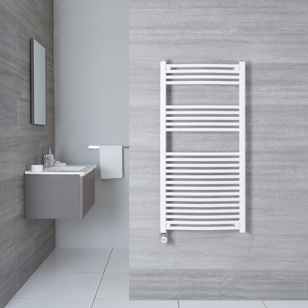 Sèche-Serviettes Électrique Incurvé Blanc Etna 120cm x 50cm x 4,5cm