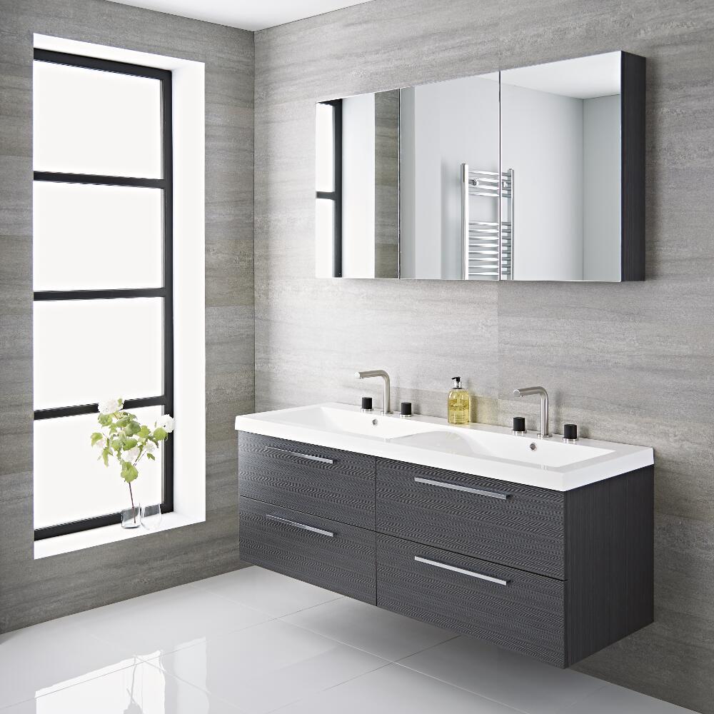 Vasque D Angle De Salle De Bain meuble salle de bain double vasque 144x51x55cm langley gris