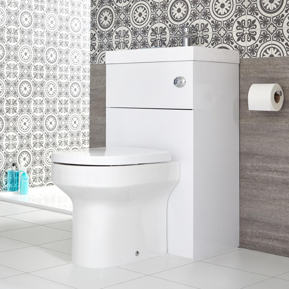 WC avec lave-mains – 50 cm x 89 cm – Blanc - Cluo