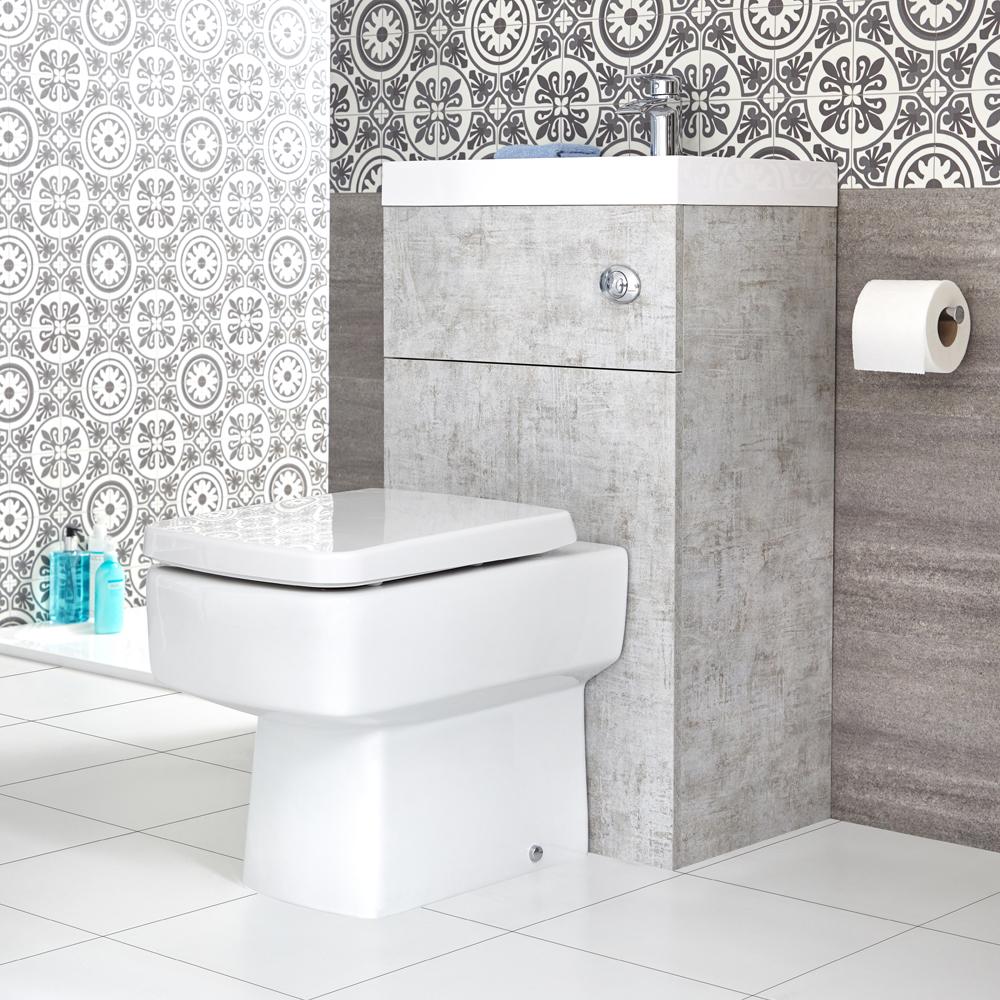 WC Lave Main Cubique Gris béton & Blanc