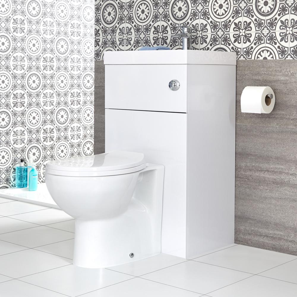 Comment Installer Un Lave Main Avec Meuble wc avec lave main moderne - blanc - 50 cm x 89 cm - cluo