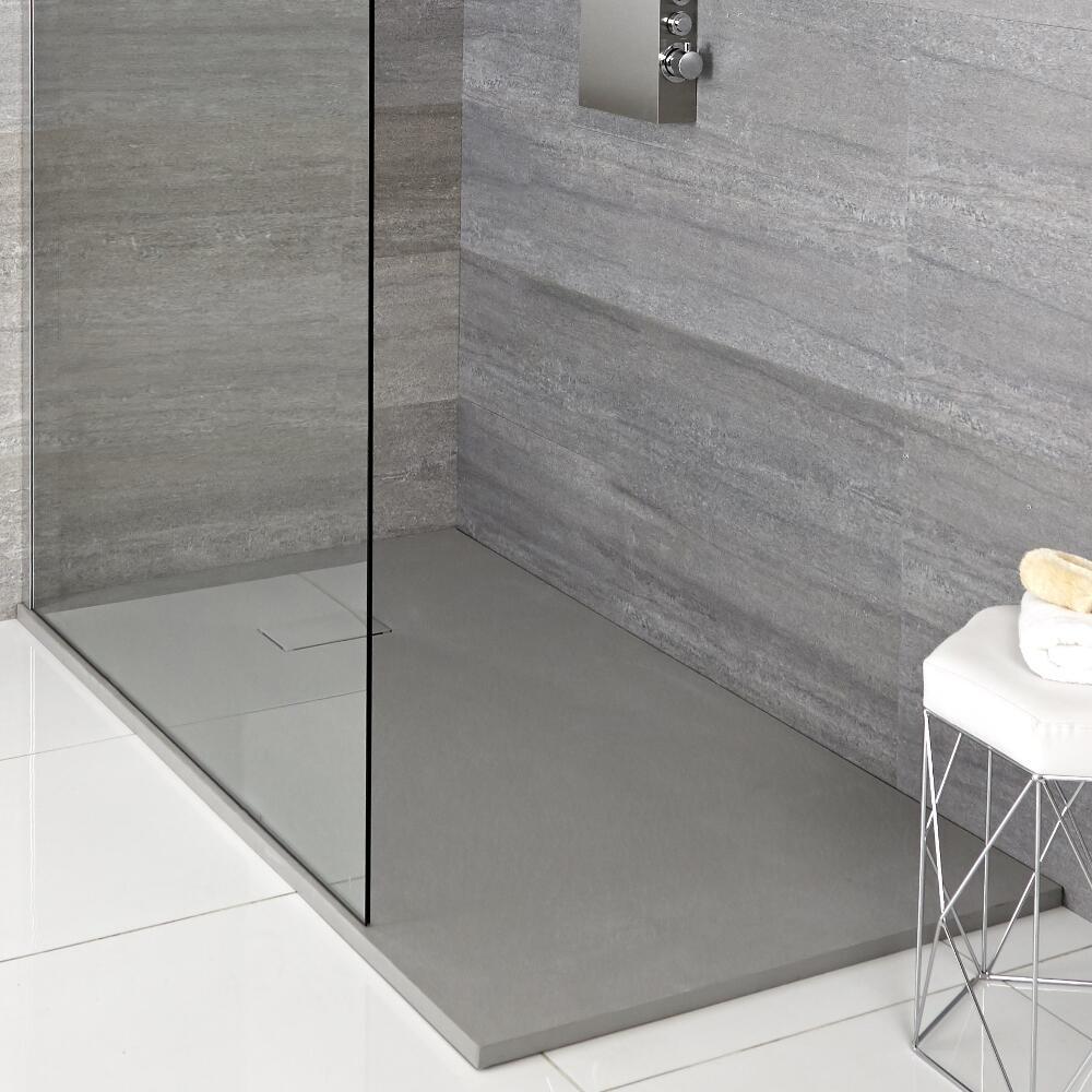 Receveur de douche rectangulaire gris perle 90x80cm - Rockwell