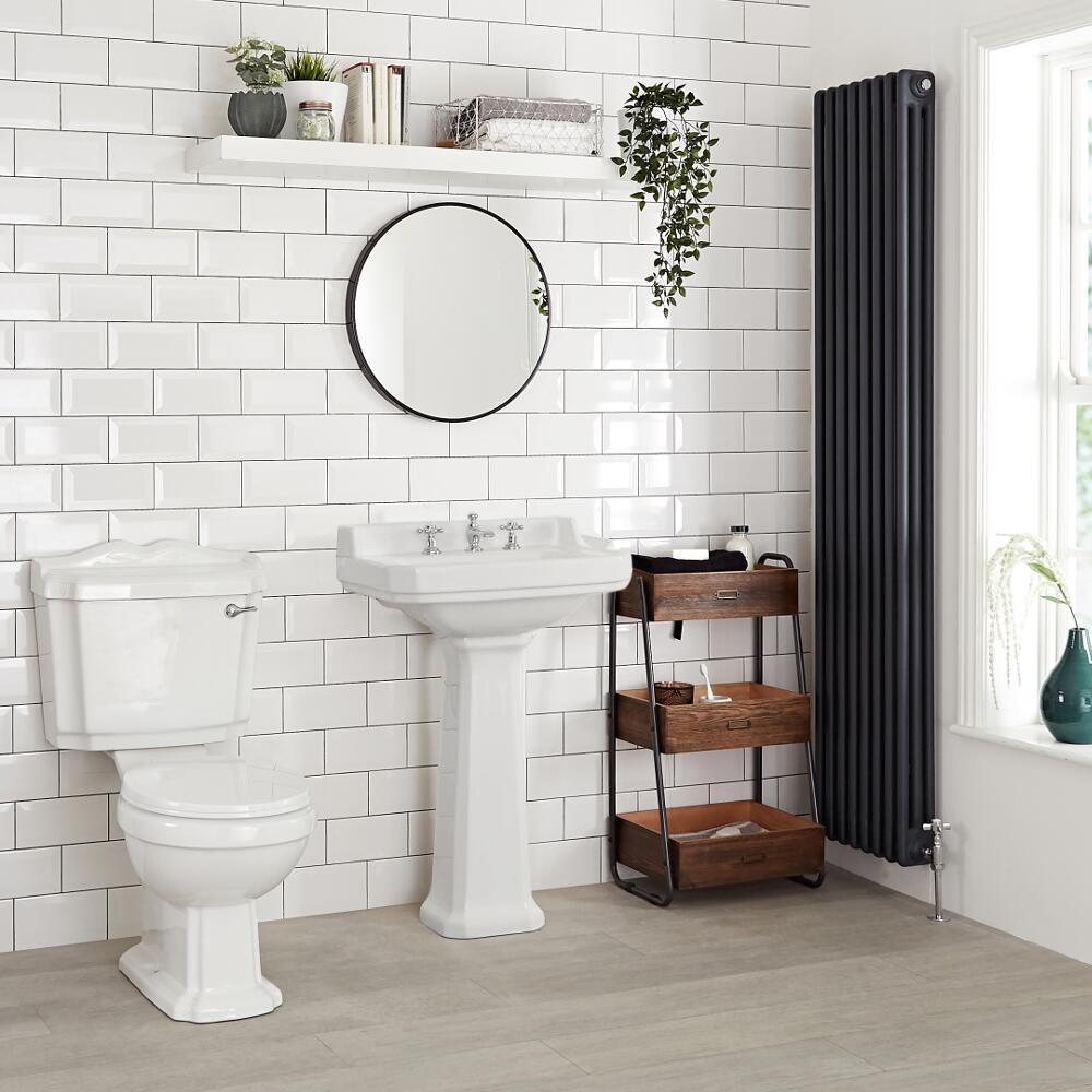 Lavabo rétro sur colonne - Blanc – 56 cm x 45 cm - Richmond