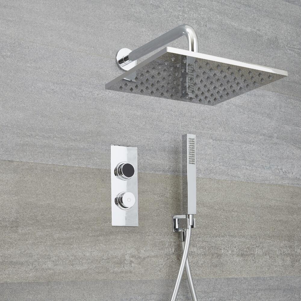 Douche Digitale Thermostatique 2 Fonctions - Pommeau Mural 30x30cm & Douchette - Narus