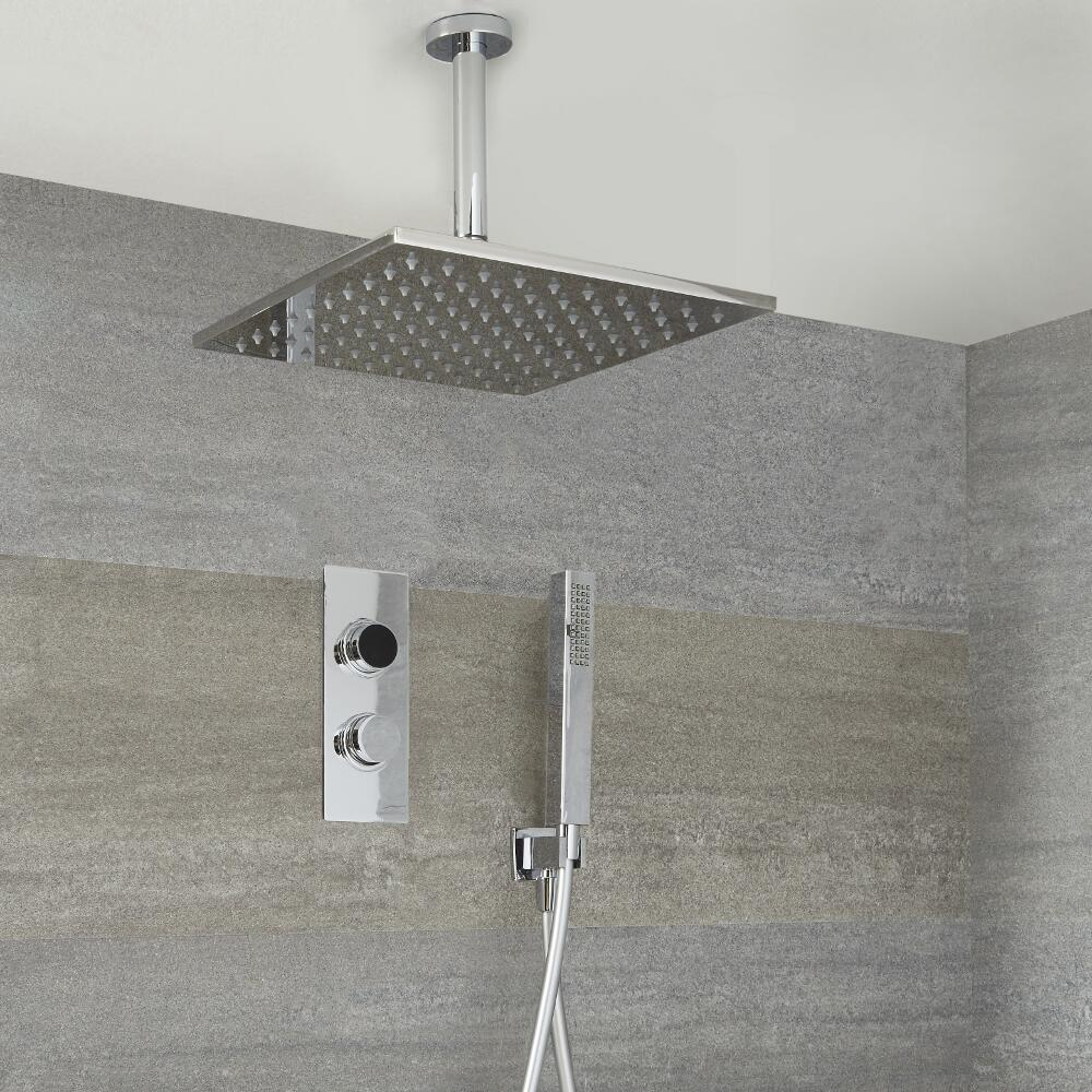 Douche Digitale Thermostatique 2 Fonctions - Pommeau Plafond 30x30cm & Douchette - Narus