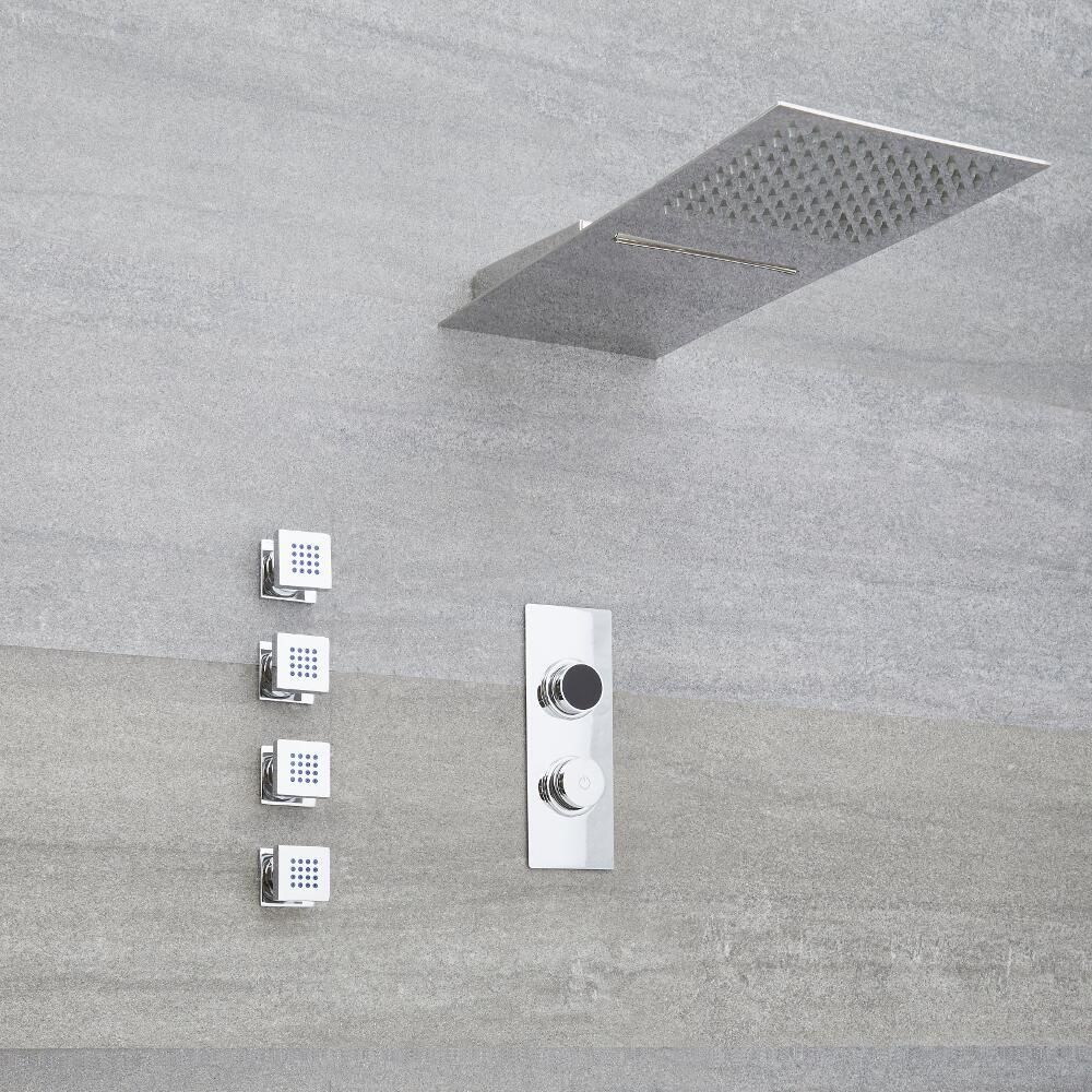 Douche Digitale Thermostatique 3 fonctions - Pommeau Cascade Mural 50x20cm & 4 jets Hydromassants - Narus