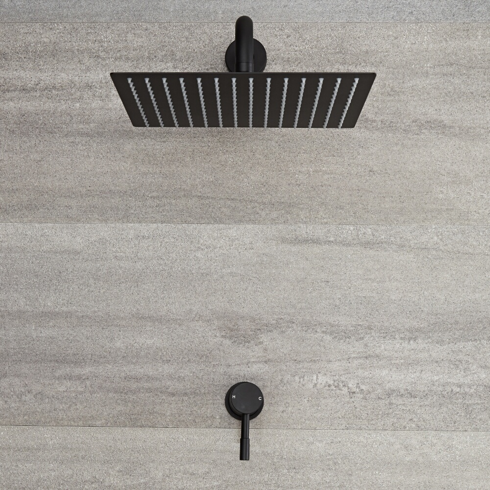Kit de douche noir - Mitigeur mécanique encastrable & pommeau de douche 30x30cm - Nox