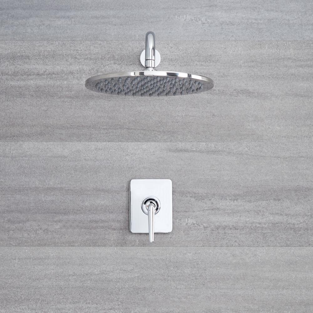 Kit de douche - Mitigeur mécanique encastré & Pomme de douche Ø 30cm sur bras mural - Ora Chromé
