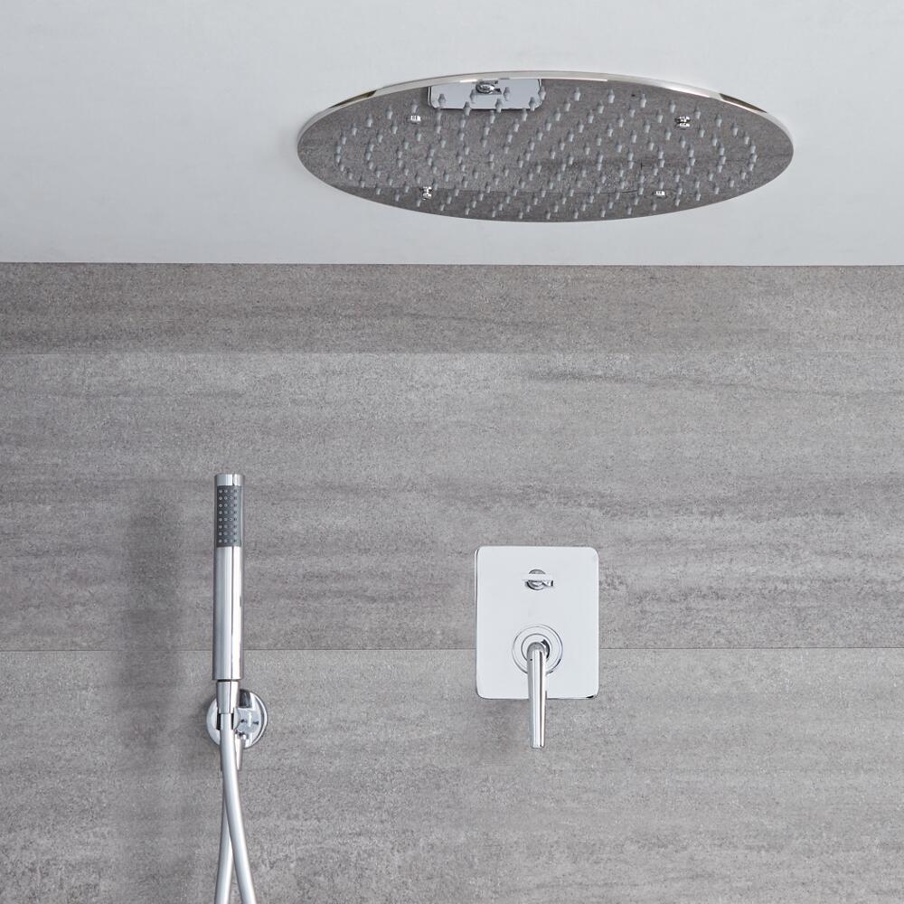 Kit de douche encastré - Mitigeur mécanique - Pomme de douche plafond Ø 40cm & Douchette sur clip - Ora Chromé