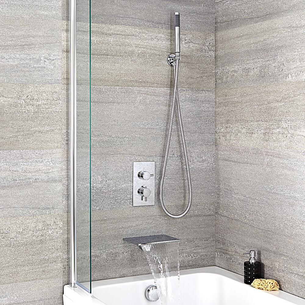 Mitigeur bain douche encastrable thermostatique bec cascade rectangulaire - Mitigeur bain douche cascade ...