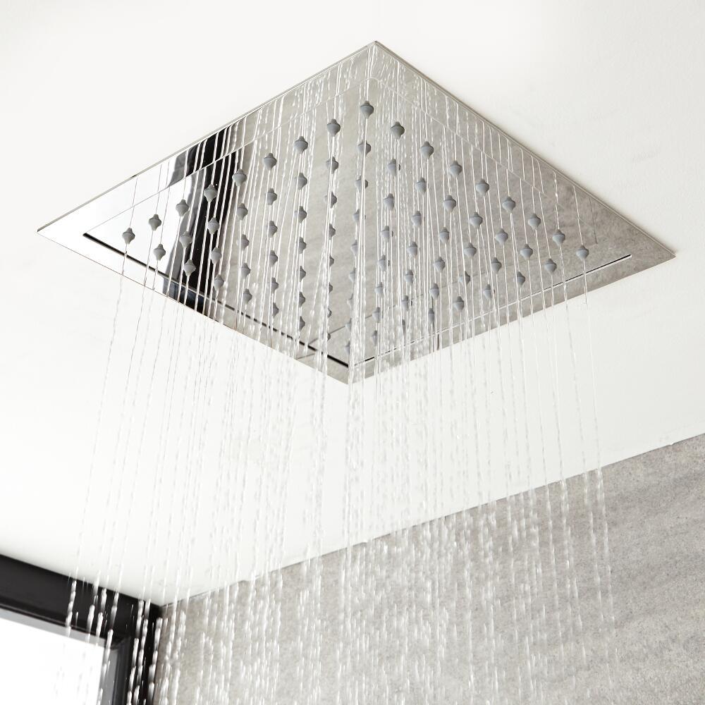 Pommeau de douche encastrable plafond 28x28cm Kubix