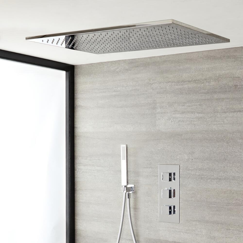 Kit de Douche Thermostatique Encastrable Cubique Pommeau Plafond Suspendu 80x50cm & Douchette - Kubix