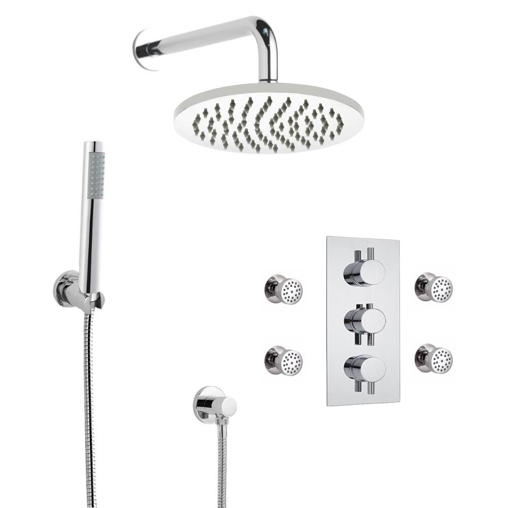 Kit de Douche Thermostatique Encastrable à Pommeau Ø 20cm Douchette & Buses Hydromassantes