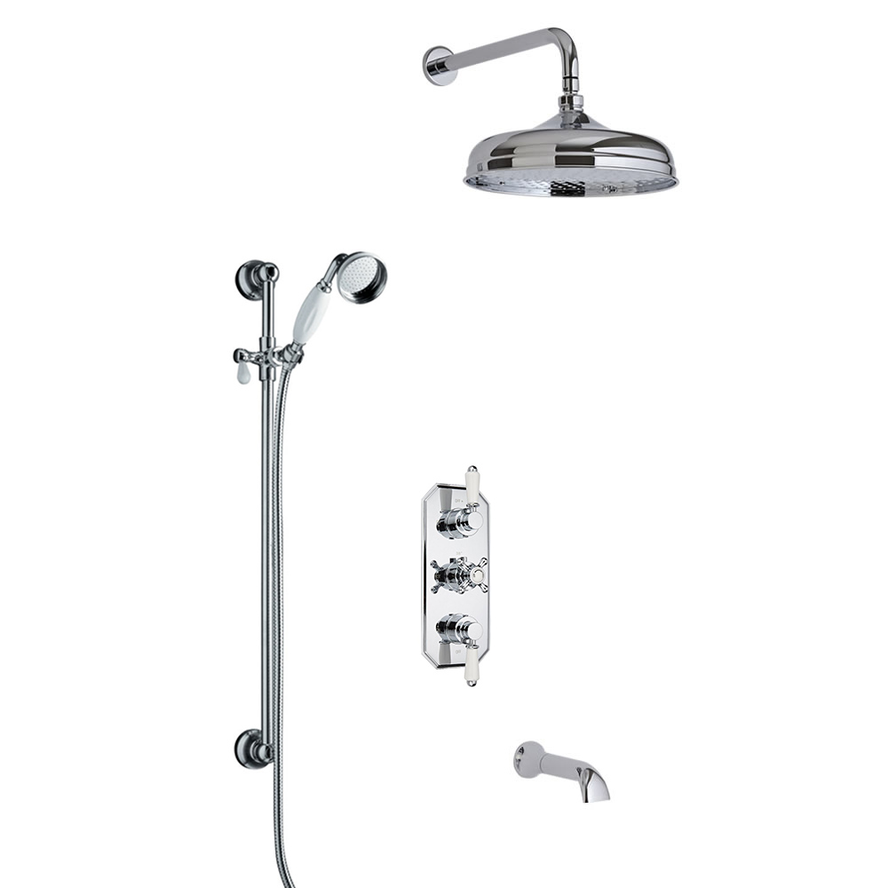 Kit de Douche Thermostatique Encastrable à Pommeau rond 15cm Design Rétro