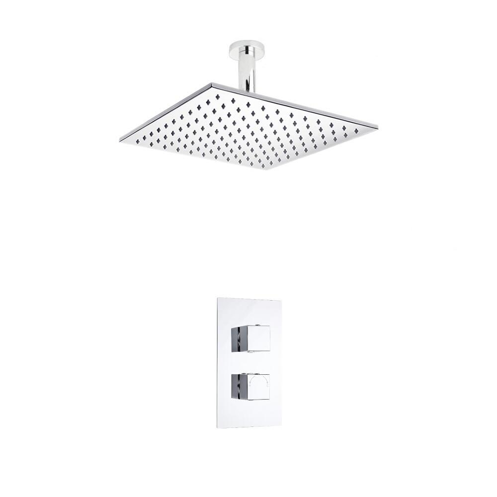 Kit de Douche Thermostatique Encastrable à Pomme Plafond Carrée 30x30cm