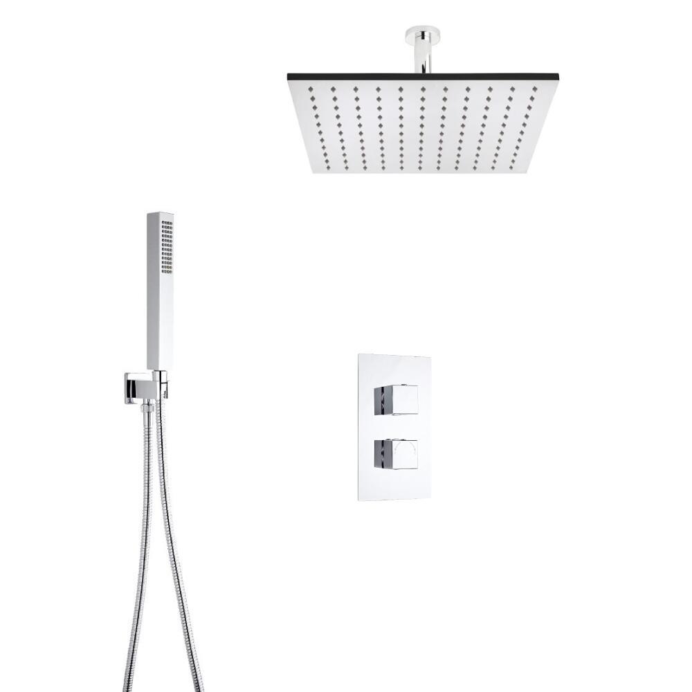 Kit de Douche Thermostatique Encastrable Cubique - Pomme Plafond Carrée 40cm & Douchette