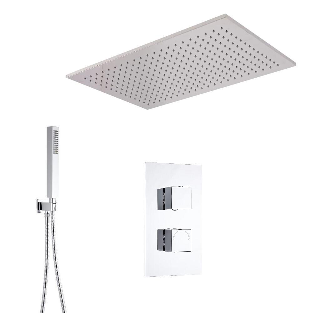 Kit de Douche Thermostatique Encastrable Cubique Pommeau Plafond Suspendu 80x50cm & Douchette