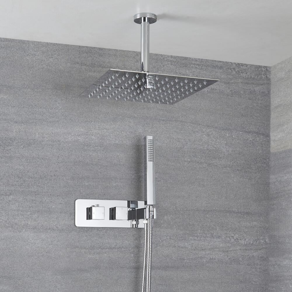 Kit Douche Encastrable Pommeau Plafond Carré 30cm & Douchette Arvo
