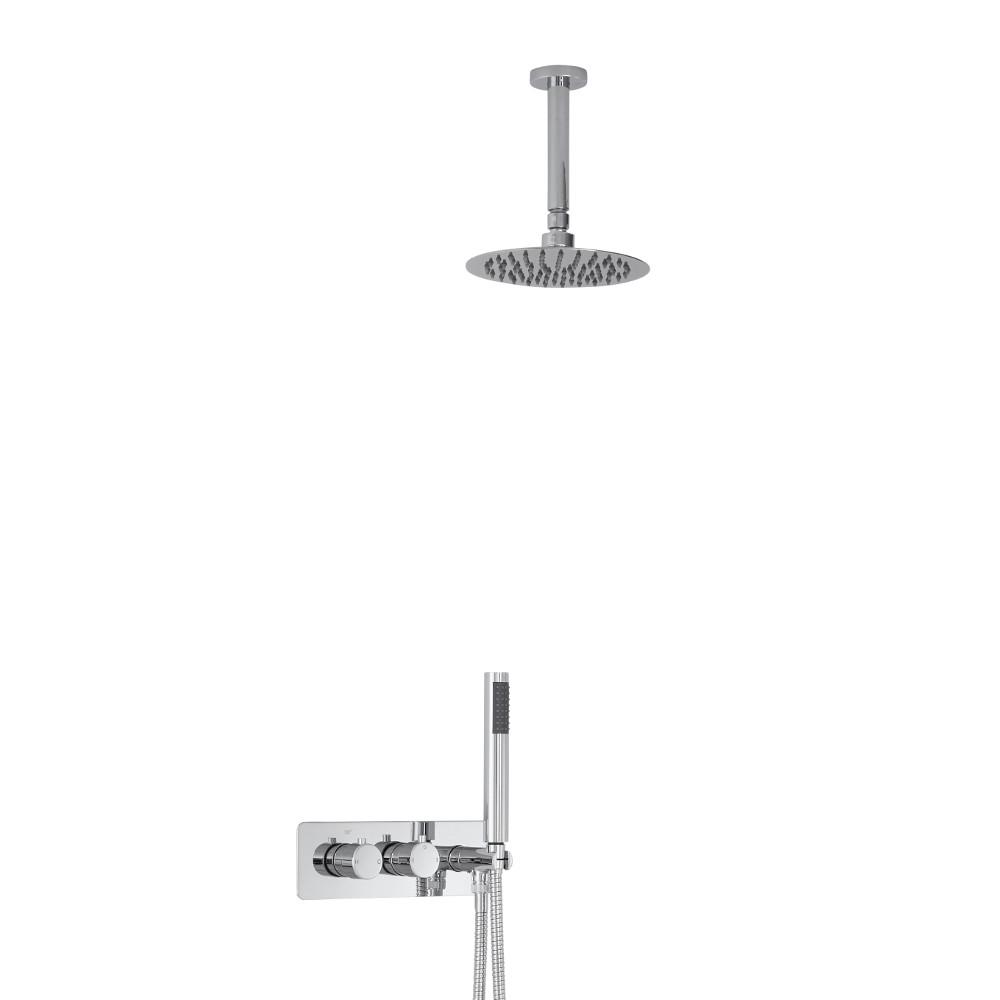 Kit Douche Encastrable Pommeau Plafond Rond Ø 20cm & Douchette Mirage