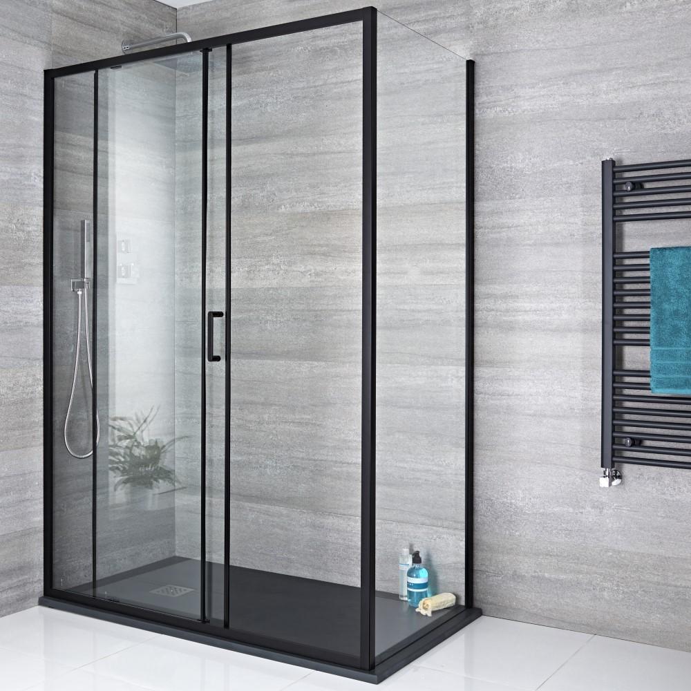 paroi de douche lat rale fixe 76cm nox noir. Black Bedroom Furniture Sets. Home Design Ideas