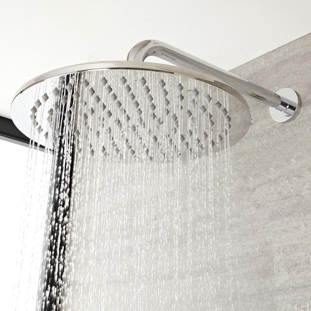 Pommeau de douche moderne rond avec bras mural - 20 cm - Como
