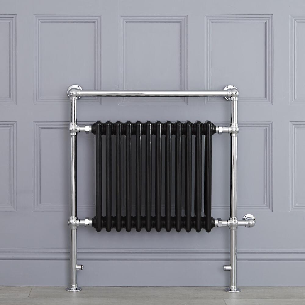 Sèche-serviettes électrique Rétro Noir & Chrome Avon 93 x 79 x 15.5cm